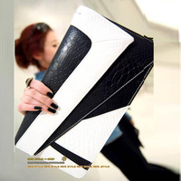 Summer vintage serpentine pattern color block crocodile pattern day clutch envelope bag 2014 color block decoration  Q62