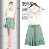 Free Shipping 2013 New Fashion Peter Pan Collar Star Dress with Belt Spring Summer Sleeveless Pleated Chiffon Dresses LY121411