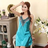 Summer quality faux silk sleepwear women's spaghetti strap sexy nightgown plus size