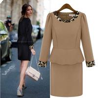 Free Shipping 2013 High Quality Spring Summer Ladies Fashion Leopard Print Slim Long sleeve One-piece Elegant Dresses LY121476