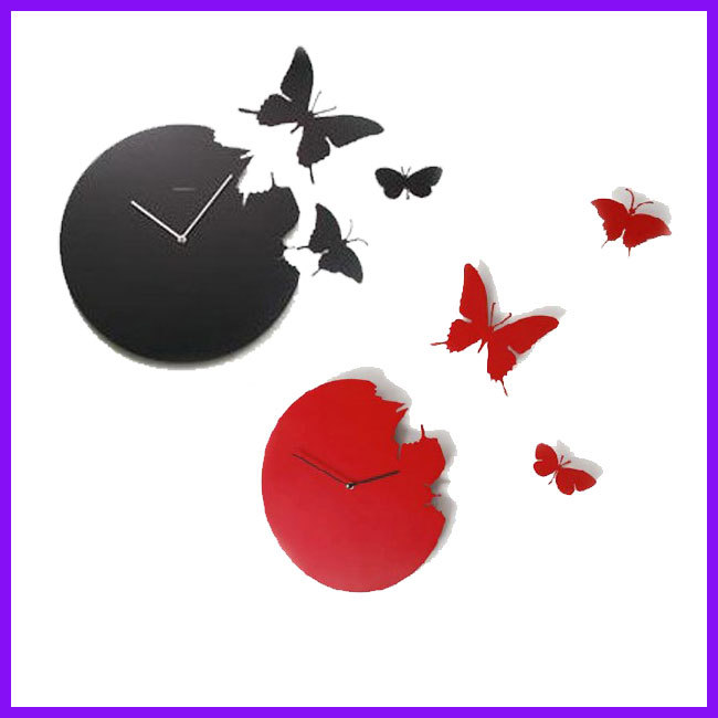 Cheap New Black Red Art Design Modern Style Time Large Home Decor Butterfly Wall Clock(China (Mainland))