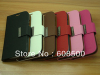 wallet leather case cover for Samsung Galaxy S4 SIIII  I9500+with credit card holder case 1 pcs Free shipping