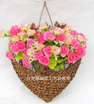 Fashion modern fashion rattan iron wall vase flowers in basket artificial flower artificial flower set y0106