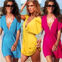 2013 summer female one piece dress silky elastic viscose beach clothes  bikini dress women's love outside Leopard shirt qz002