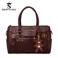 Korean Style Bear Retro 2 Colors Faux Leather Totes Handbags Designers  Shoulder Bags For Women  PBG-091