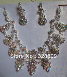 2013 Newest Luxurious wedding jewelry sets 100% fashion AB Color rhinestone crystal bridal jewelry sets free shipping(China (Mainland))
