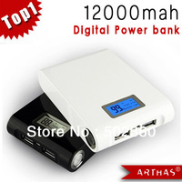12000mAh USB External Backup Battery 2 USB Port Power Bank for iPhone iPod iPad mobile Phone Digital Universal Battery Charger,