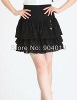 Lady Sexy Lace Hot Fix Rhinestone Pleated Skirt Mini Dress Zipper S-XXXL Black