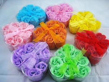 Creative Soap Flower Soap for washing cleaning wedding tools 8 colors 9pcs/lot Free shipping