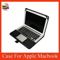 Factory wholesale 10 pcs/lot slim leather cover case for Macbook air DHL black color free shipping