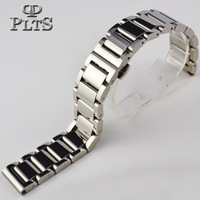 Solid quality thick butterfly buckle silver stainless steel watchband general mechanical watch 20mm 22mm