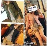 2013 spring and autumn female plus size o-neck slim zipper-up jacket solid color long-sleeve short jacket
