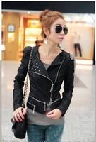 Free shipping Rivets leather short coat Slim the epaulets PU leather jacket lapel leather