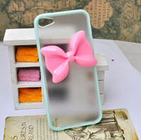 gluing pink bow Frosted soft edge case for iphone 5 5S 4 4S or Protective cover for ipod touch 5 5S   [JCZL DIY Shop]
