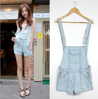 Vintage denim jumpsuit bib pants suspenders shorts female loose