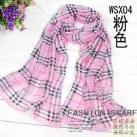 2013 spring and autumn Women silk scarf long faux silk chiffon plaid scarf sun cape