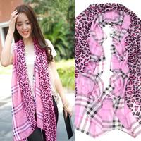 2013 women's lengthen scarf plaid print leopard print scarf fashion large cape