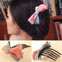Min.order is $10 (mix order)Free Shipping 76026 accessories denim stripe double layer bow hair comb insert comb hair maker