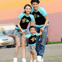 2013 summer short-sleeve T-shirt family fashion color block decoration raglan sleeve family pack sc-dc143