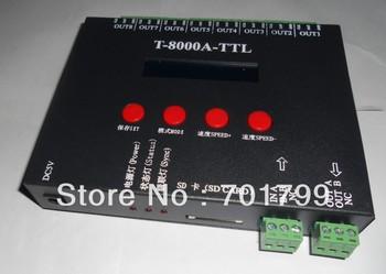 8 port off-line T-8000A  led sd card pixel controller,SPI(TTL)signal output,can control max 1024*8ports=8192pixels