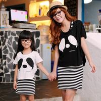 2013 family fashion mother and child dresses short-sleeve family fashion 2 set