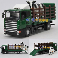 Free shipping Scania dairy cow transport truck gift box set alloy car model