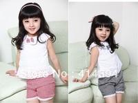 2013 New Summer Kids Clothing Set Lace Children Girl Clothes Set 3PCS T Shirt And Lattice shorts Pants 2 Colors Infant Garment