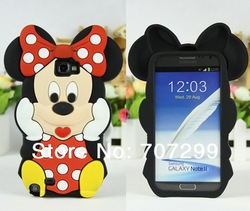 2013 New Arrival Lovely Cute Cartoon Mickey Minnie 3D Silicone Cover Case for Samsung Galaxy Note 2 II N7100, Free Shipping(China (Mainland))