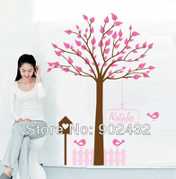 Free shipping 2013 new design 2pcs/set vinyl wall stickers Tree and bird cage giant home decor wall decals JM7200