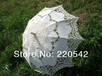 "Free shipping Beige Sun Parasol Wedding Bridal Lace Umbrella Handmade Wedding Parasol Adult Size 30"""