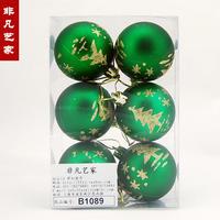 Free shipping 6cm dull green colored drawing christmas ball christmas tree decoration christmas gift