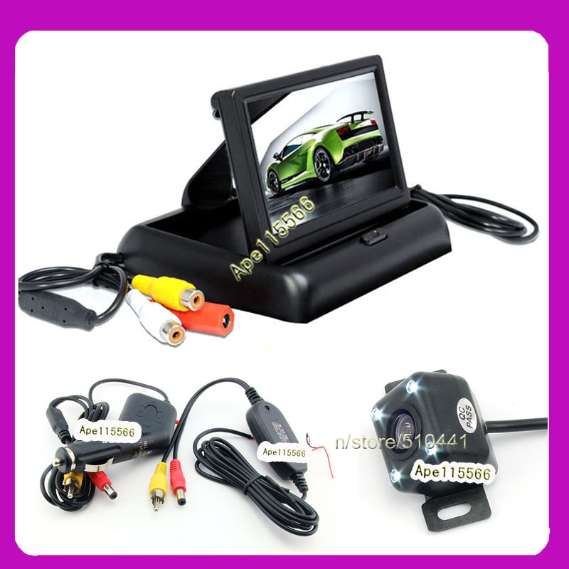 Wireless 4.3 inch stand Foldable monitor for car night vision back up car camera 170 degreen ccd hd(China (Mainland))