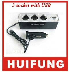 3 socket with usb Car cigarette lighter power supply doesthis three usb car power converter(China (Mainland))