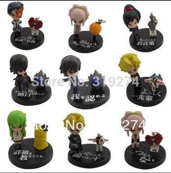Wholesale/Retail  Free Shipping  FS 9pcs Set Code Geass C.C. Cute Anime Loose Figure