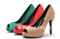 Free shipping 2013 new arrive brand lady's sexy platform pumps women's elegant diamond rivets shoes fashion trend high-heels