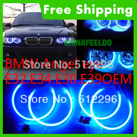 Blue CCFL LED Angel Eyes headlights for BMW E32.E34.E30.E39OEM angel eyes kits#3243(China (Mainland))