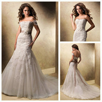 Mermaid Style Feminine Illusion Neckline Detachable Cap Sleeves Desginer Lace Wedding Gowns