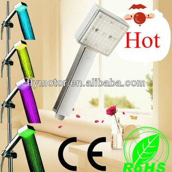 LD8008-A4 New LED Light Square Rain Shower Head Bathroom bath Glow Three Colors Sprayer 45 pcs a lot