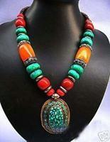 Tibet Ethnic Jewellery Argent Turquoise Necklace