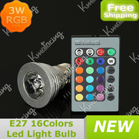 3W E27 RGB Light Lamp 85~265V 16 colors IR Remote Control Magic Led RGB Bulb Lamp Free Shipping