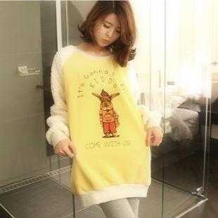 Spring women's loose casual cartoon animal plush letter t-shirt(China (Mainland))