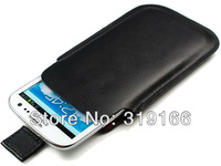 Black White Genuine Leather Pull Tag Pouch Case Skin for Samsung Galaxy S4 i9500 ,Free Shipping 10pcs/lot