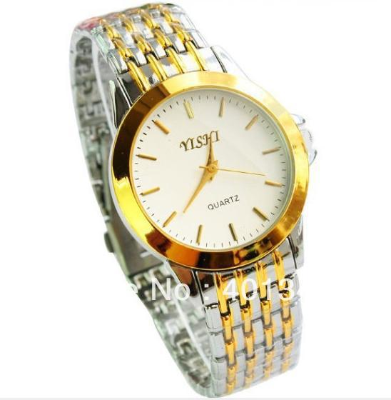 MIX Gold and silver steel Watch strap golden dial and analog Luxury brand Business watch for men Fan144547(China (Mainland))