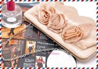 Freeshipping/New Spring Rose Bud Pale Golden Handbag Wristlet/Clutch Bag/Dinner Bag/Party Bag/Hand-take Purse  itme 6396