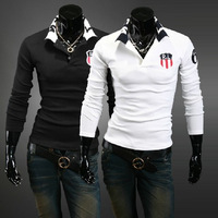 5   free shipping 2013 autumn men's long sleeve cool t shirt fashion polo shirt ,black,white wine red, M-XXL[07-1717]