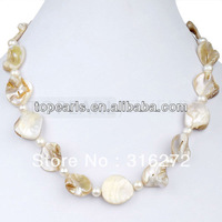Free Shipping! 17inch White Potato Pearl White Shell Necklace ND08085