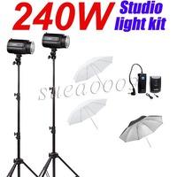 240Ws GODOX 2*120Ws Pro Photography Studio Strobe Flash Light with Umbrella Kit
