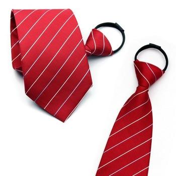 male female zipper tie convenient tie easy to pull tie red stripe marriage tie