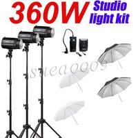 360Ws GODOX 3*120Ws Pro Photography Studio Strobe Flash Light with Umbrella Kit