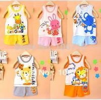 Wholesale New Summer Baby kids childrens suit 2 pieces/set vest + short pants boy's girl's cotton set 5 color